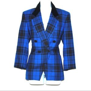 Perfect Vintage Bold Plaid Wool and Velvet Blazer